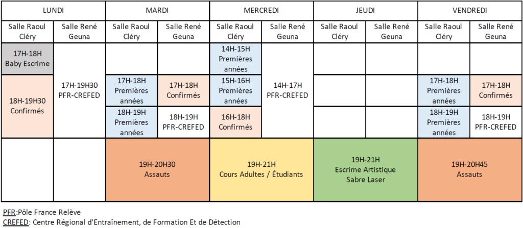 Montre les disponibilités et les horaires de l'Amicale Tarbaise d'Escrime